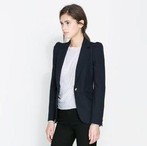 Zara Blazer With Gathered Shoulders in Navy blue.